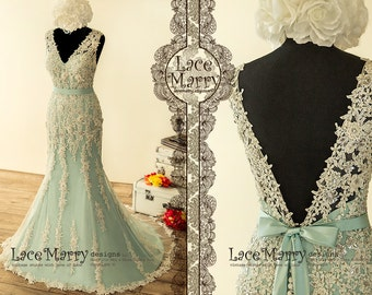 Fabulous Teal Wedding Dress with Intensive Beaded Venice Lace Appliqué  featuring V Neckline 1575551758f0
