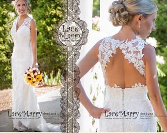 Boho Lace Wedding Dress, Beach Wedding Dresses, Summer Wedding Dress, Boho Wedding Dress, Slim A-Line Wedding Dresses, Keyhole Open Back