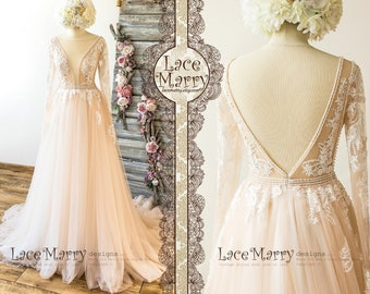 afab9d34d Deluxe Lace Wedding Dress in Nude Tulle and Ivory Applique with Long Sleeves
