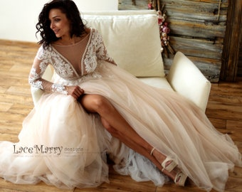 c1f5a36a2166 Sexy Lace Wedding Dress in Nude Tulle and Ivory Applique with Long Sleeves, A  Line Wedding Dress, Beach Wedding Dress, Blush Wedding Dress