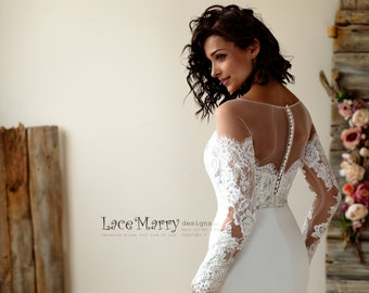 2bef3f2dfc Off Shoulder Lace Wedding Dress with Long Sleeves and Illusion Sweetheart, Chiffon  Wedding Dress, Fitted Wedding Dress with Long Sleeves