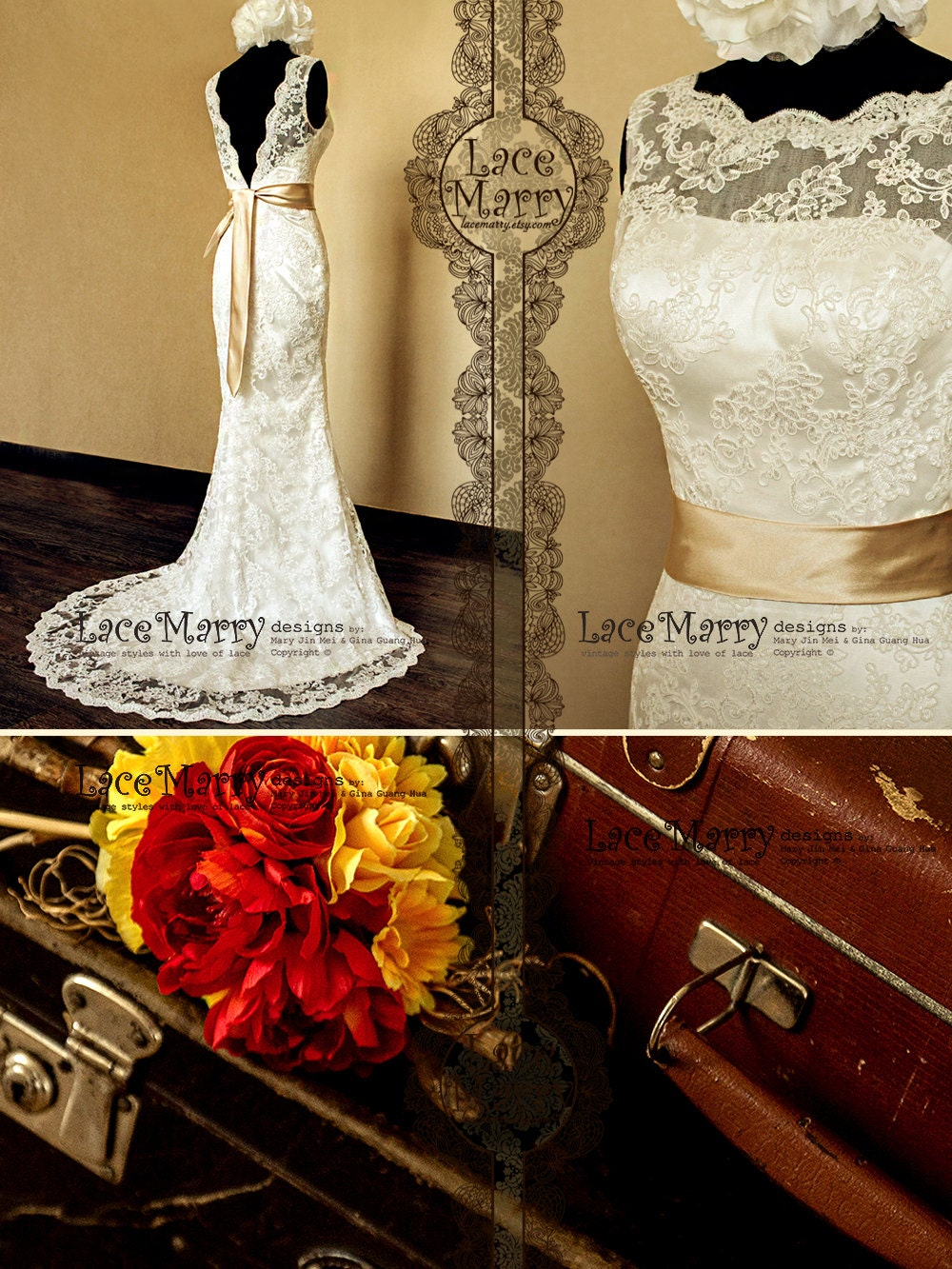 Deep V-Cut Back Vintage Style Lace Wedding Dress Features