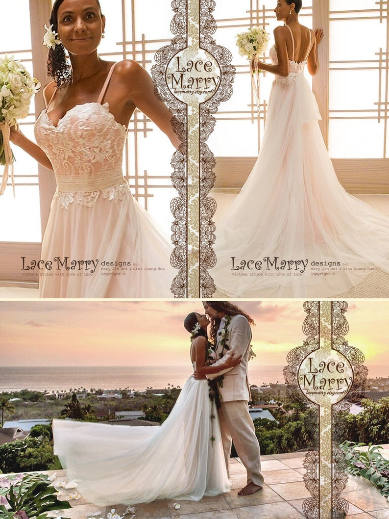 bcc38cd63c044 Rose Gold Beach Wedding Dress from Lace and Soft Tulle in
