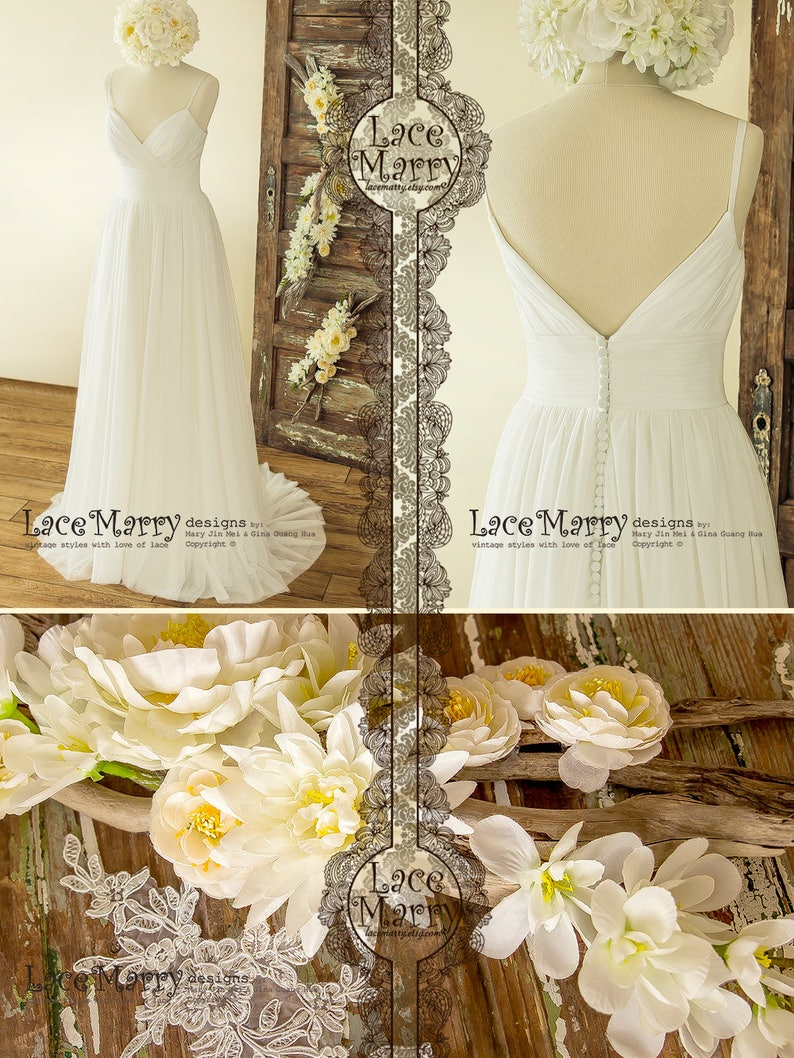 Simple Wedding Dress In Summer Boho Style From Soft Tulle In A Line Shape With V Cut Neckline And Slim Spaghetti Straps Wedding Dress
