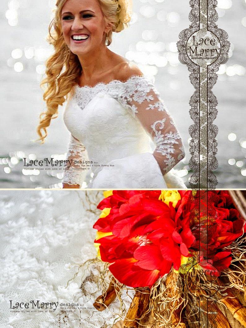 9d4301048b19 Off Shoulder Lace Wedding Dress Long Sleeves Wedding Dress | Etsy