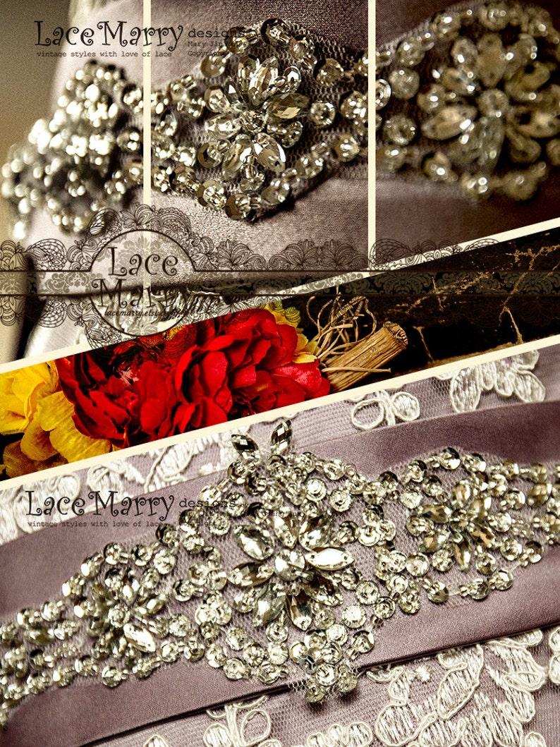 Vintage Inspired Bridal Beaded Sash Violette Splendid Handmade Rhinestone and Sequin Flower Beadwork Satin Sash to Tie on the Back