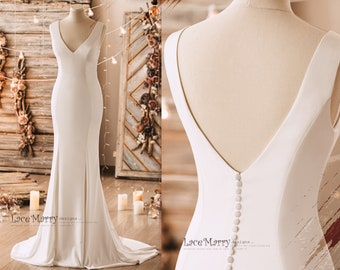 CLEMENTINE / Simple and Elegant Wedding Dress from Luxury Elastic Crepe in Fitted Slim A Line Shape with V Cut Neckline, Minimalist Dress