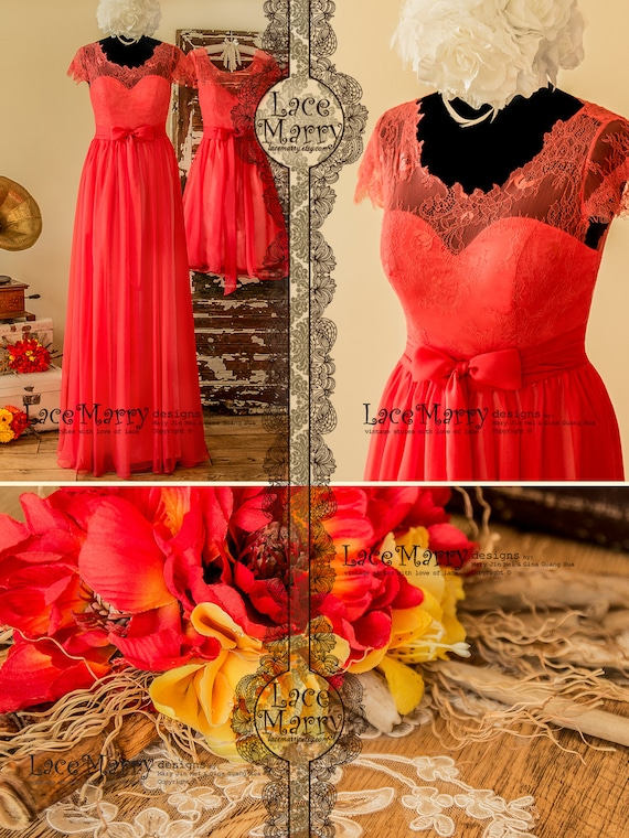 Bright Coral Bridesmaid Dress in Chantilly Lace and Silk ...
