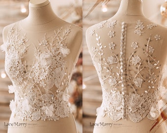 Transparent Lace Wedding Bolero with Ivory 3D Flower Appliqués and Light Handmade Beading - Two Piece Wedding Crop Top - Bridal Separates