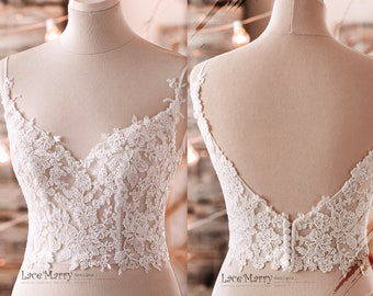 Lace Crop Top with Sweetheart Neckline, Wedding Dress with Separate Skirt, Bridal Separates, Glitter Wedding Skirt, A Line Wedding Dress Set