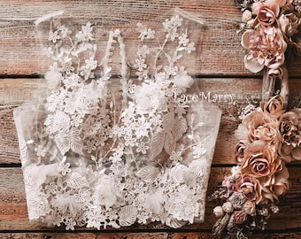 Bridal Top with 3D Flowers and Beading, Wedding Lace Crop Top with Beading, Lace Bolero, Bridal Separate Top, Two Piece Wedding Dress