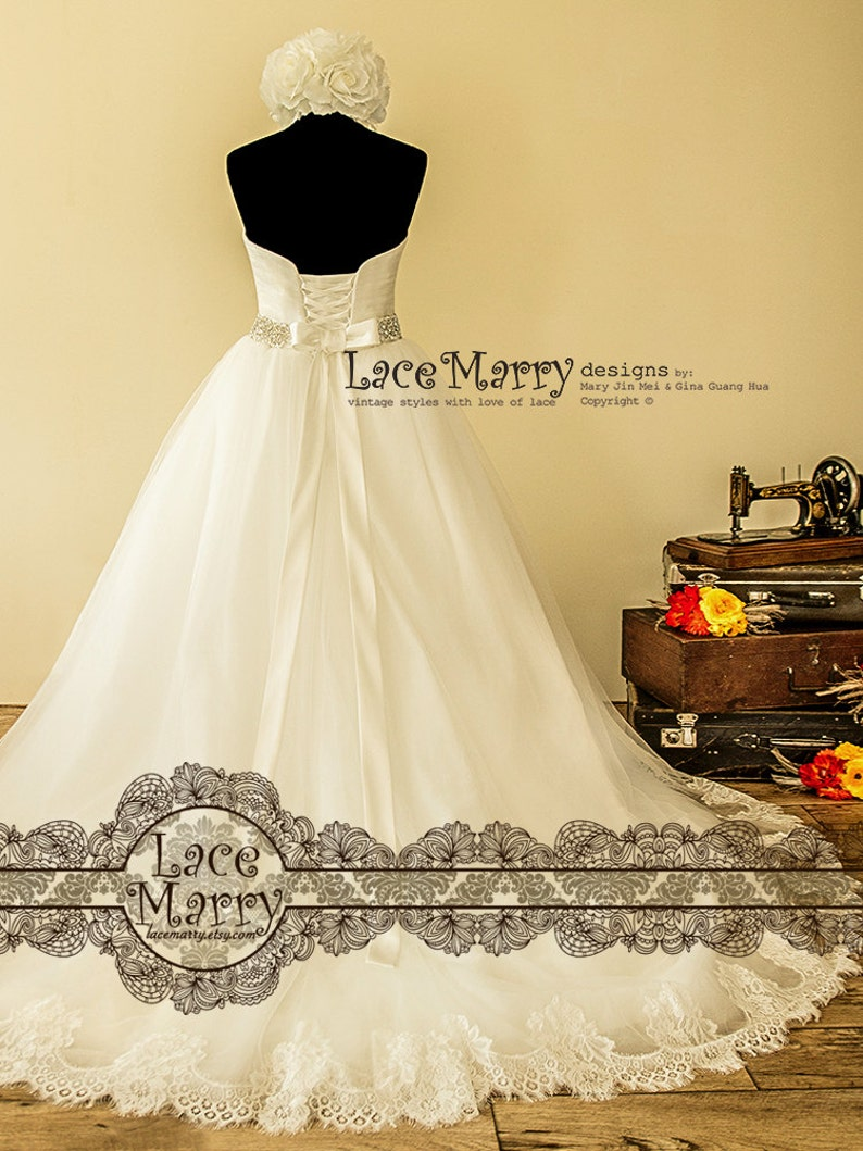 19d48f3f816 Ball Gown Wedding Dress with Chantilly Lace Hem on Soft Tulle