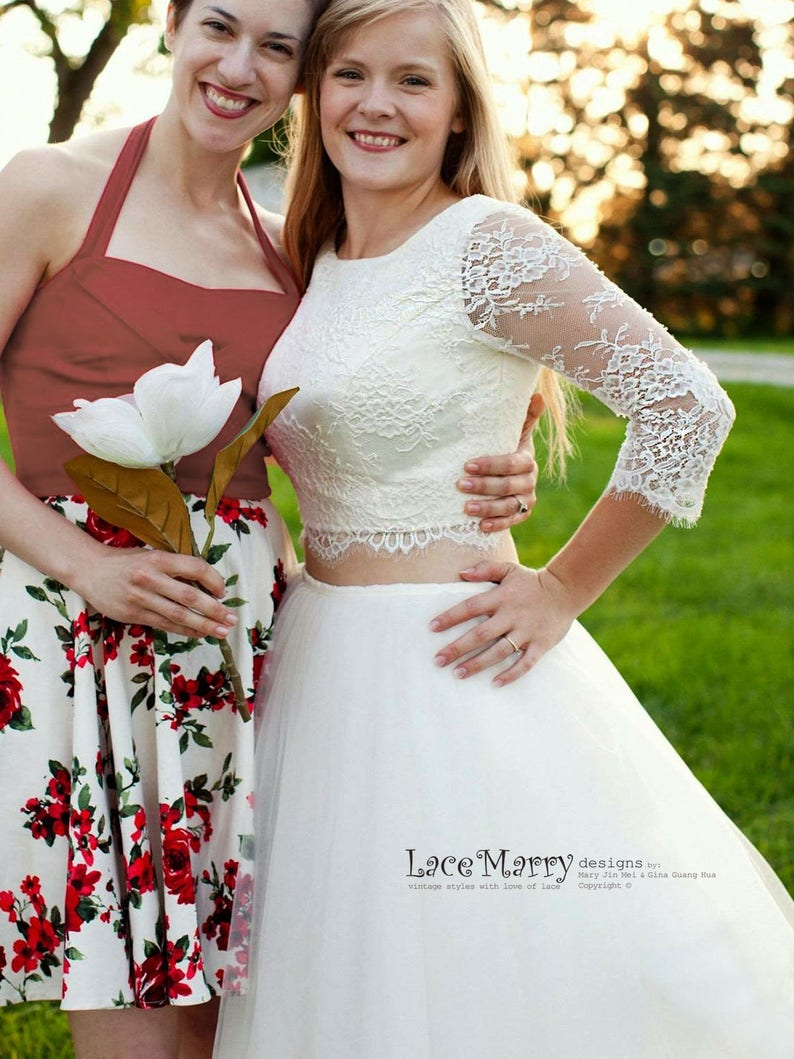 Two Piece Wedding Dress Set Lace Crop Top with Round Neckline and Elbow Sleeves 2 Piece Wedding Dress with Long Sleeves
