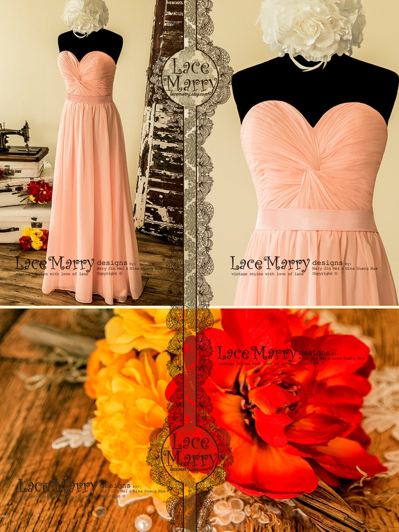 33b15c91935 Long Bridesmaid Dress in Blush Pink Chiffon with Strapless