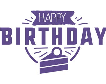 Happy Birthday Pantone Color of the year Ultra Violet greeting card