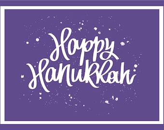 Happy Hanukkah Instant download Greeting Card pantone color