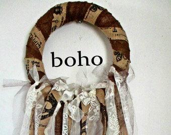 French Vintage Lace Wreath, French Postcripts, French Banner, Wall Decor, Burlap, Paris Flea Market, Paris Apartment, Boho Style, Ivory