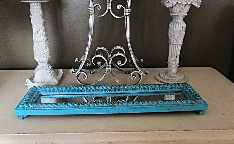 Mirrored Glass Tray Upcycled Modern Table Centerpieces Decorative Trays Teal And Gold Distressed Coffee End Tables Decor Mantels
