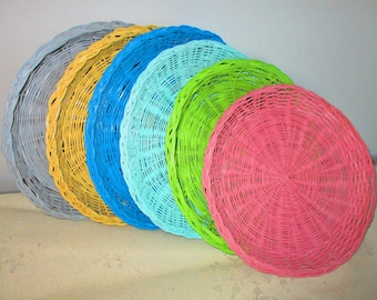 Six Wicker Paper Plates Holders Shabby Chic Paper Plates Support Summer Fun & Wicker plate holder   Etsy