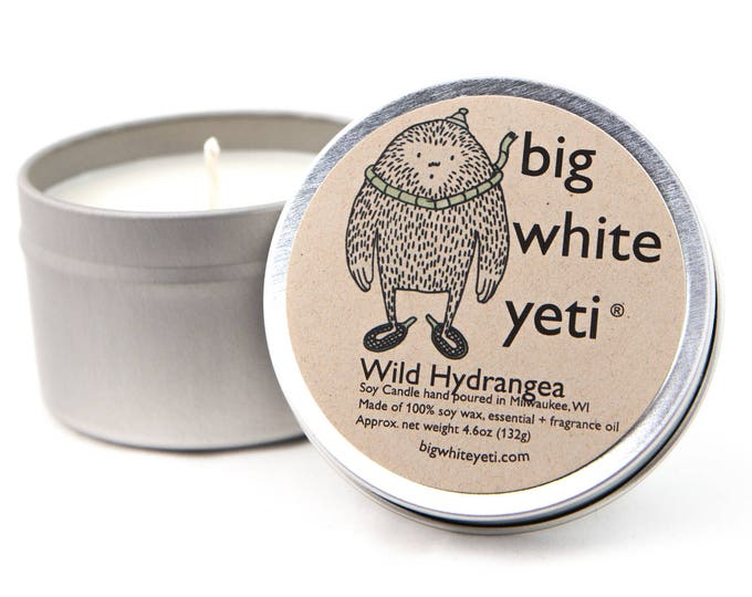 SALE! Wild Hydrangea Soy Candle- 6oz Tin