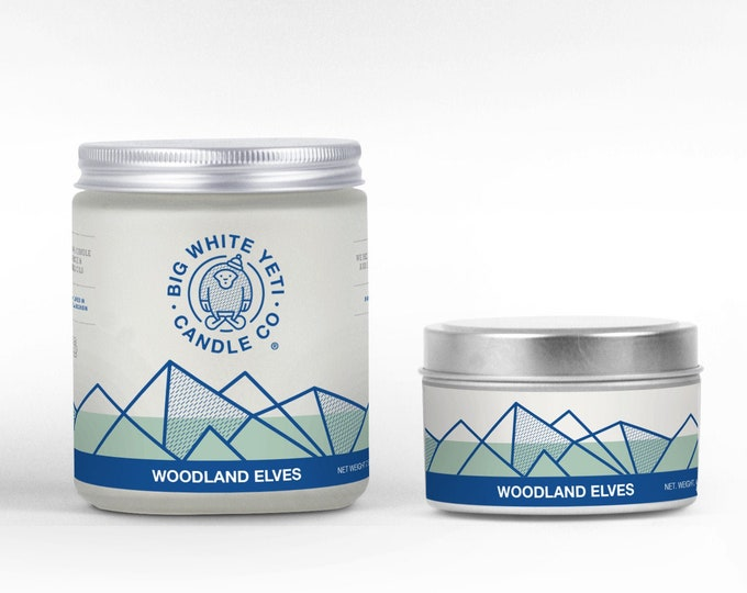 Woodland Elves Soy Candle - 6oz tin or 8oz frosted glass jar