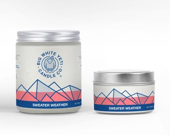 Sweater Weather Soy Candle - 6oz tin or 8oz frosted glass jar