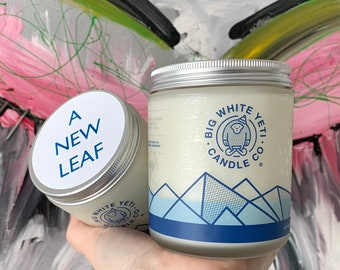 A New Leaf Soy Candle - 8oz frosted glass jar