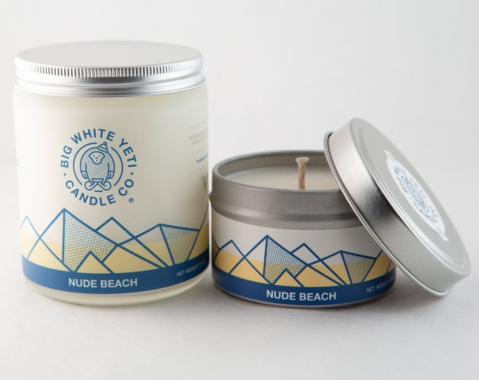 Nude Beach Soy Candle - 6oz tin or 8oz frosted glass jar