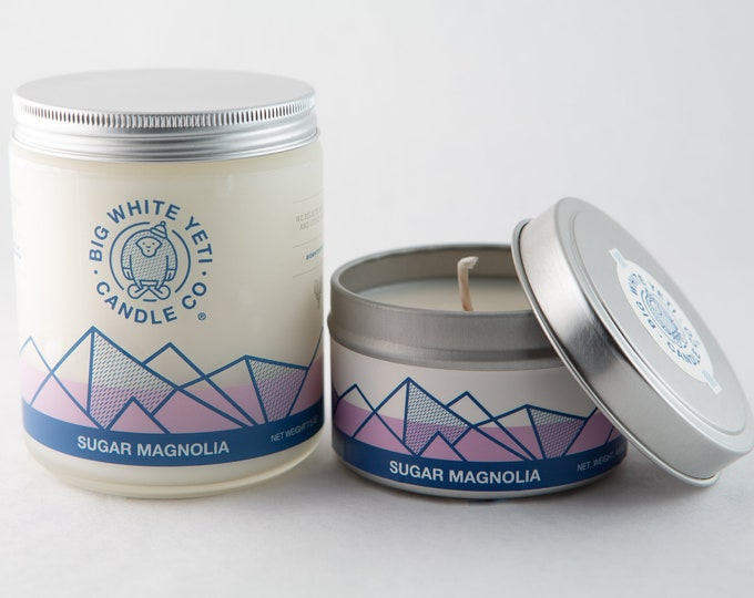 Sugar Magnolia Soy Candle- 6oz Tin or 8oz Frosted Glass Jar