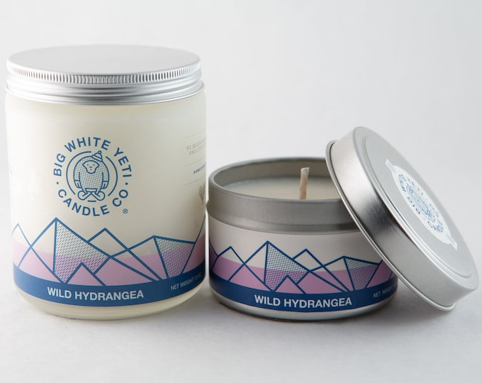Wild Hydrangea Soy Candle - 6oz tin or 8oz frosted glass jar