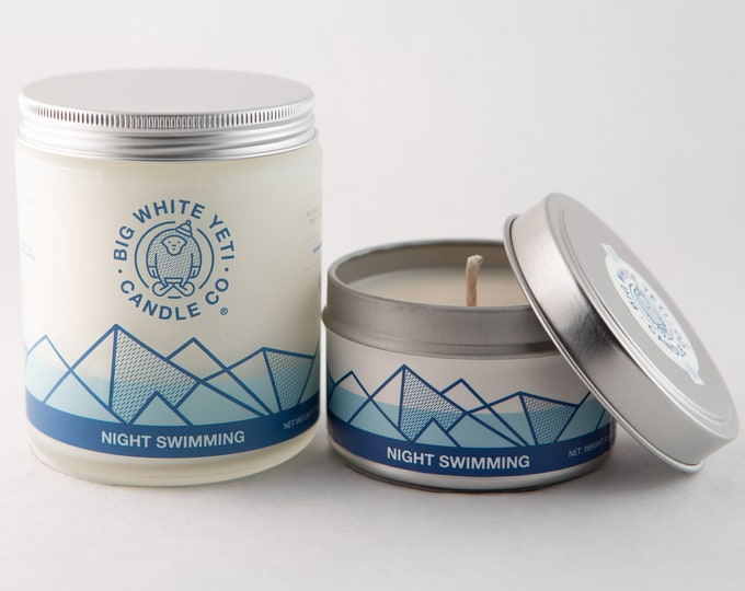Night Swimming Soy Candle - 6oz tin or 8oz frosted glass jar