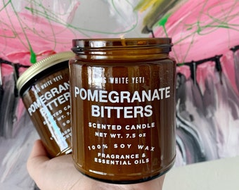 NEW Pomegranate Bitters Soy Candle- 8oz Amber Jar