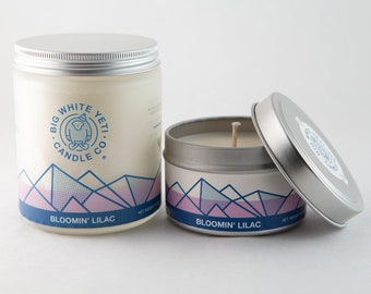 Bloomin' Lilac Soy Candle - 6oz tin or 8oz frosted glass jar