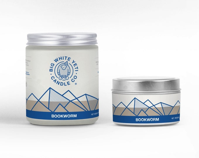 Bookworm Soy Candle - 6oz tin or 8oz frosted glass jar
