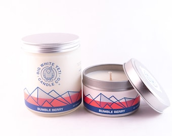 Bumble Berry Soy Candle - 6oz tin or 8oz frosted glass jar