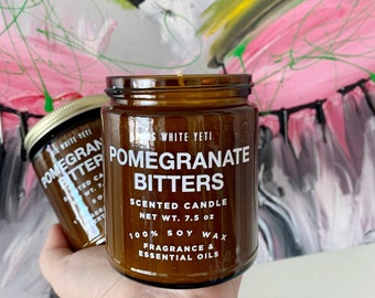 NEW Pomegranate Bitters Soy Candle- 9oz Amber Jar