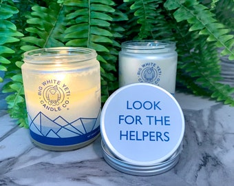 Look For The Helpers Soy Candle - 8oz frosted glass jar