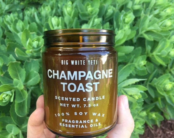 Champagne Toast Soy Candle- 9oz Amber Jar