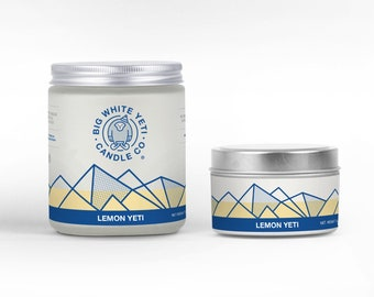 Lemon Yeti Soy Candle - 6oz tin or 8oz frosted glass jar