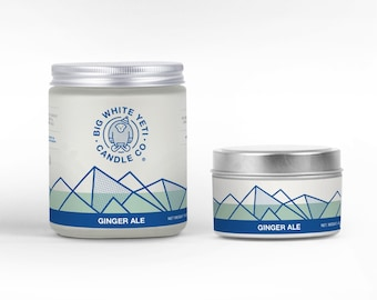 Ginger Ale Soy Candle - 6oz tin or 8oz frosted glass jar