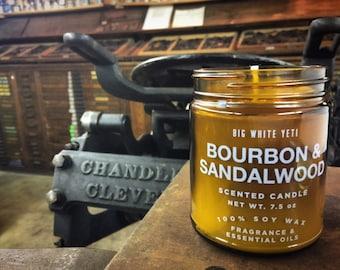 Bourbon + Sandalwood Soy Candle- 9oz Amber Jar