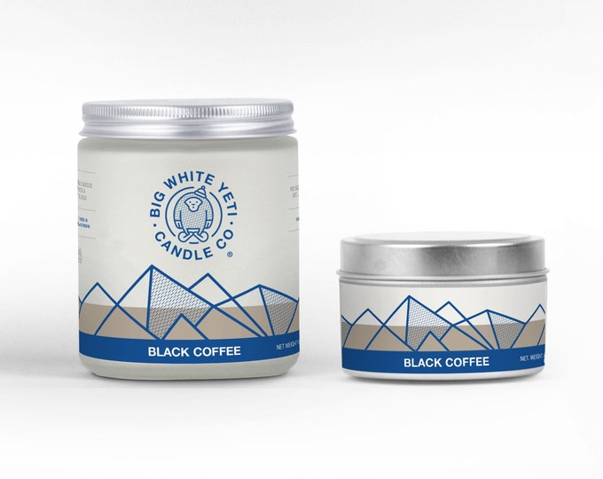 Black Coffee Soy Candle - 6oz tin or 8oz frosted glass jar