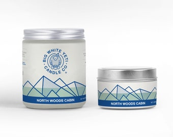 North Woods Cabin Soy Candle - 6oz tin or 8oz frosted glass jar