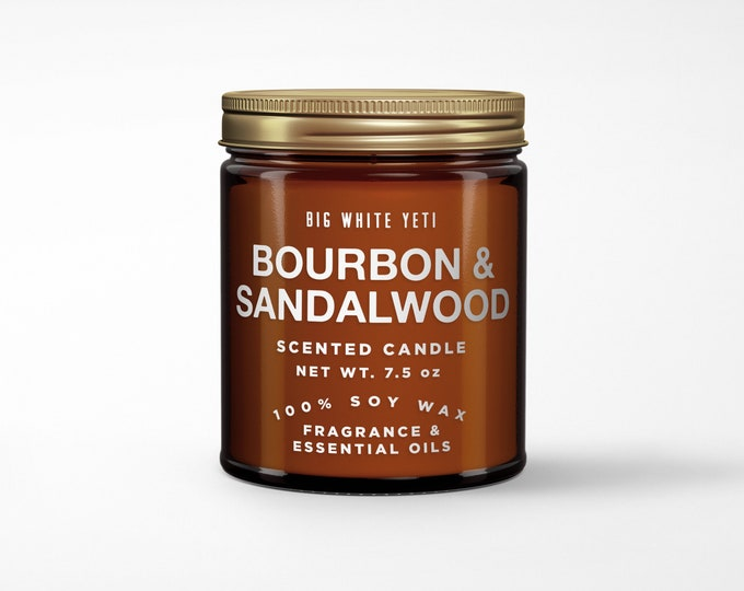 Bourbon + Sandalwood Soy Candle- 8oz Amber Jar
