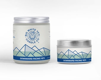 Downward Facing Yeti Soy Candle - 6oz tin or 8oz frosted glass jar