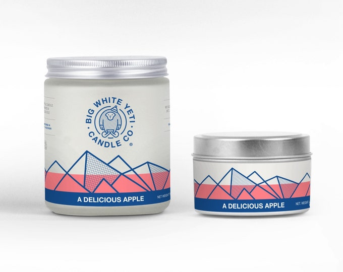 A Delicious Apple Soy Candle - 6oz tin or 8oz frosted glass jar