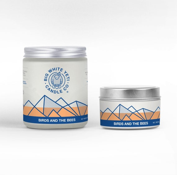 Birds and the Bees- 6oz tin or 8oz frosted glass jar