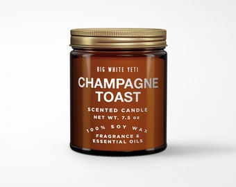 Champagne Toast Soy Candle- 8oz Amber Jar