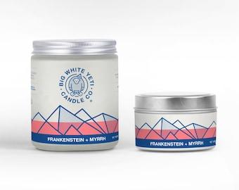 Frankenstein + Myrrh Soy Candle - 6oz tin or 8oz frosted glass jar