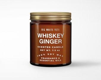 Whiskey Ginger Soy Candle- 8oz Amber Jar